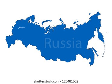 Russian map on white background