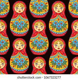 Russian matreshka doll traditional toy colorful seamless vector pattern