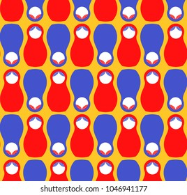 Russian matreshka flat simple modern seamless vector pattern