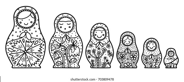 Russian matryoshka. Babushka. Coloring.