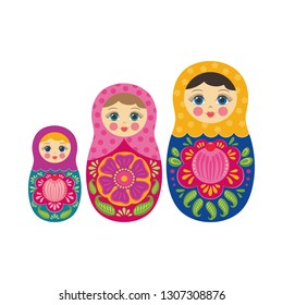Russian matryoshka doll traditional kids wooden toy. Babushka style. Vector illustration isolated on white background. Funny cute set cartoon character. Moscow souvenir. Folk country ornate pattern.