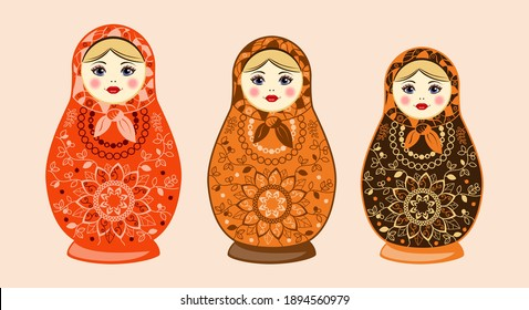 Russian Matryoshka with ornamental pattern. on white background. Vector illustration.