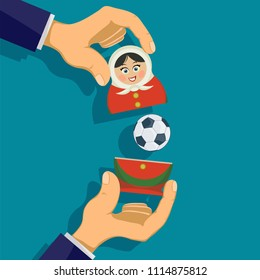 Russian matryoshka with a soccer ball. Traditional nesting doll symbol of football competitions. Stock vector illustration.