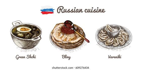Russian menu colorful illustration. Vector illustration of Russian cuisine.