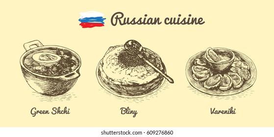 Russian menu monochrome illustration. Vector illustration of Russian cuisine.