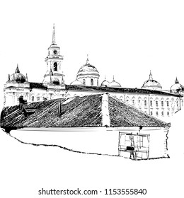 Russian Monastery, side view (vector)