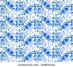 Russian national floral seamless pattern in gzhel style