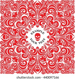 Russian National flower ornament Khokhloma and skull. Design bandanas, t-shirt, invitations, motorcycle club, rock, metal hipster style. Composition squared, red color. tattoo. vector