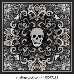 Russian National flower ornament Khokhloma and skull. Design bandanas, invitations, motorcycle club, rock, metal hipster style. Composition squared. tattoo. vector