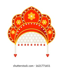 Russian national heardress Kokoshnik icon in flat style isolated on white background. Historical folk traditional hat in Russia. Vector illustration.