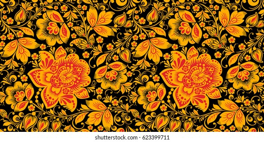 Russian national hohloma style seamless pattern vector in traditional black, red and gold colors. Classic khokhloma, national ornament. Floral art decor