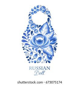 Russian nesting doll babushka matrioshka - gzhel style decoration vector. Symbol of Russia.