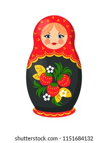 Russian nesting doll closeup. Wooden girl image decorated with floral elements, green leaves and strawberries. Matryoshka toy icon vector illustration