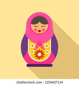 Russian nesting doll icon. Flat illustration of russian nesting doll vector icon for web design