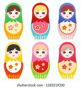 "Russian nesting doll ""Matryoshka"". Vector set"