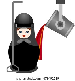 Russian nesting doll metallurgist. The illustration on a white background.