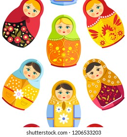 Russian nesting doll, traditional wooden souvenir from Russia seamless pattern isolated on white vector.