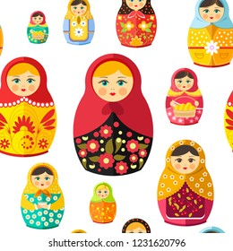 Russian nesting doll, traditional wooden souvenir from Russia seamless pattern isolated on white vector. Woman figure decorated with ornaments and natural clothes. Folklore and traditional drawing