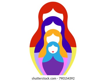 Russian nesting dolls matrioshka, set icon colorful symbol of Russia, vector isolated