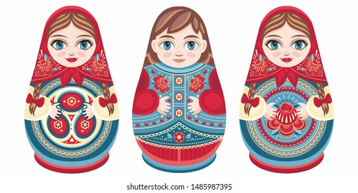 Russian nesting dolls Matryoshka. Babushka doll. Matryoshkas family vector. Russian doll. Matrioshka isolated. Matryoshka set family. Russian Matryoshka stacking dolls. Russian doll isolated. Kokeshi