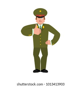 Russian Officer thumbs up and winks. Soldier happy emoji. Military in Russia Joyful. Illustration for 23 February. Defender of Fatherland Day. Army holiday for Russian Federation