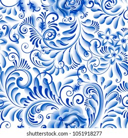 Russian ornamental traditional painting art style gzhel. Blue flowers and scrolls, exquisite folk ethnic seamless pattern.