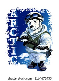 Russian polar bear in the form of a soldier in the Arctic on the background of the night starry sky. Vector illustration.