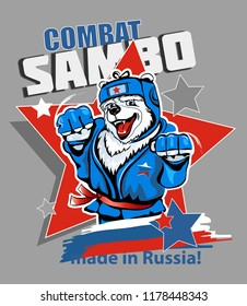 Russian polar bear wrestler in blue tracksuit  isolated on background. Vector illustration. Combat wrestling.