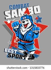 Russian polar bear wrestler in blue tracksuit  isolated on gray background. Vector illustration. Combat wrestling.
