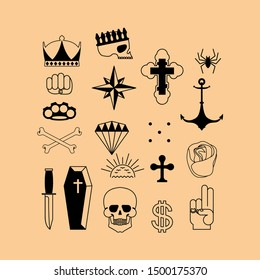 Russian prison tattoo set. Russia criminal symbol. Skull, Cross and chain. Barbed wire and crown. Thief stars. sign Prisoner mafia tattooing.