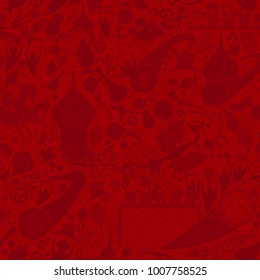 Russian red seamless pattern, world of Russia background with modern and traditional elements, 2018 trend, vector illustration