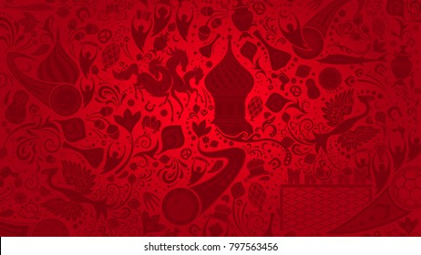 Russian red wallpaper, 16:9 aspect ratio, world of Russia pattern with modern and traditional elements, 2018 trend background, vector illustration