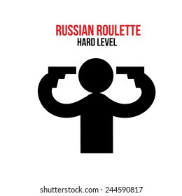 Russian roulette hard level, poster, silhouette symbolic man take a guns in your hands.