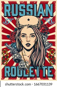 Russian roulette vintage colorful poster with pretty girl in ushanka hat brass knuckles handguns diamond game dice and rose flowers on red radial background vector illustration