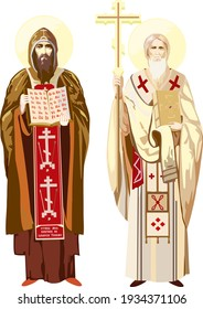 """Russian saints Cyril and Methodius with the first Russian alphabet (ABC). The text on the clothes is canonical, from the ikon: it can be translated as """"Guide my feet with your word."""""""