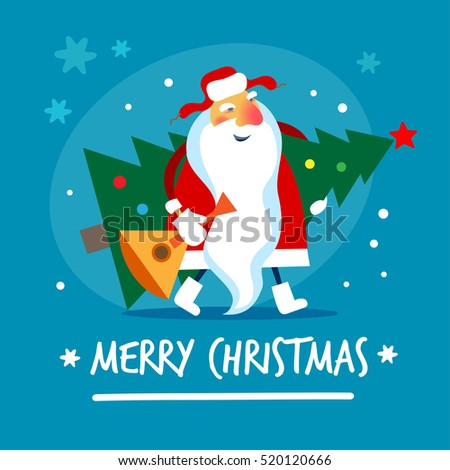 russian santa claus merry christmas vector illustration - Russian Merry Christmas