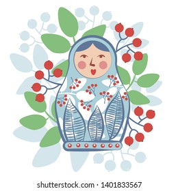 Russian souvenir nested doll surrounded by leaves and berries