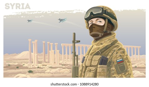 Russian special forces soldier and kalashnikov against the background of the Syrian landscape with ruined ancient ruins and flying planes in the sky.