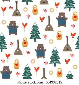 Russian symbols seamless pattern. Cute cartoon illustration with bear, fir tree, balalaika, nested doll. Russian design for wrapping paper, textile, fabric etc. Child drawing style vector background.
