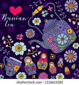 Russian tea and matryoshka dolls. Cute card.
