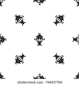 Russian tea samovar pattern repeat seamless in black color for any design. Vector geometric illustration