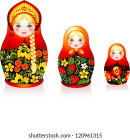 Russian tradition matryoshka dolls in hohloma style (a brand of Russian traditional ornaments used for painting on wooden things - spoons, dishes, etc.)