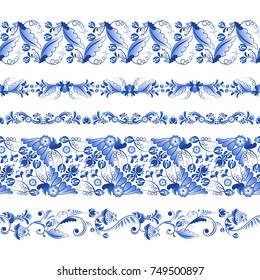 Russian traditional elements. Set of horizontal seamless pattern in gzhel style. Gzhel russian pattern seamless element, floral blue flower. Vector illustration