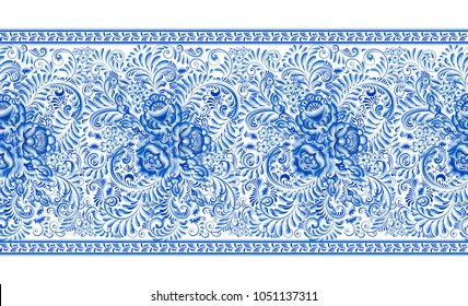 Russian traditional painting in white and blue. Horizontal seamless pattern in gzhel style. Floral blue flower and foliage in one stroke brush technique.