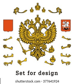 The Russian two-headed eagle. Set of parts for design.