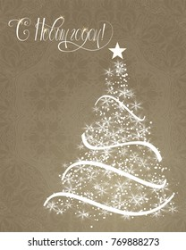 """Russian vector lettering """"Happy New year"""" Stylized Christmas tree on decorative background. Merry Christmas background for internet sites, gift cards, flyers and presentations. Vector illustration"""