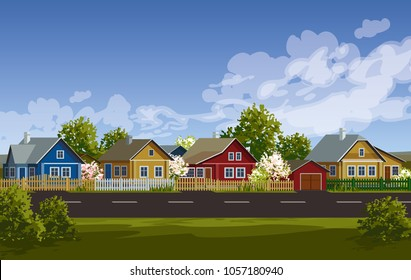 Russian village spring landscape. Russian village houses in traditional style. Blooming garden with fence.   Wooden houses near road vector illustration. Village street. Old huts. Farm houses.