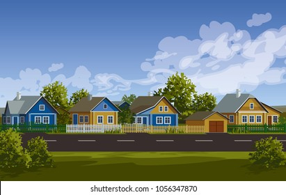 Russian village summer landscape. Russian village houses in traditional style. Garden with fence near road vector illustration. Village street. Old huts. Farm houses.