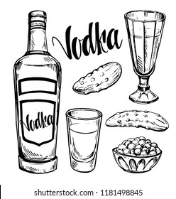 Russian vodka. Bottle, shot, caviar, pickle. Sketch illustration converted to vector