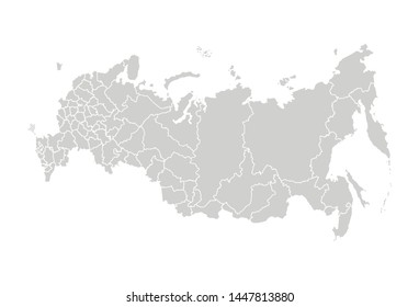 Russia's map  including disputed territory of Crimea. Vector isolated illustration of simplified administrative map of Russian Federation. Borders of the federal subjects (regions). Grey silhouettes.